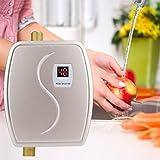 Durchlauferhitzer Küche, Haofy 230V 3800W Mini Durchlauferhitzer Elektronische mit LCD Anzeige, Konstante Temperatur Durchlauferhitzer für Küche Badezimmer Dusche, EU Stecker, Golden